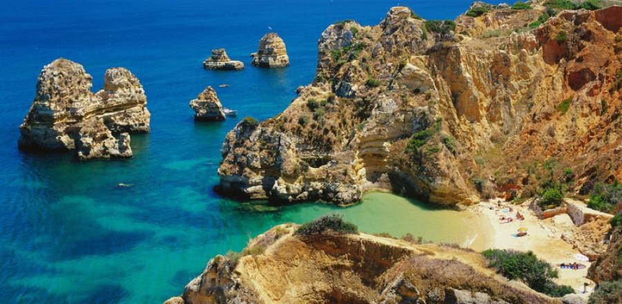FelsenkŸste Praia da Camilo bei Lagos, Algarve, Faro, Portugal